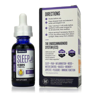 CBDistillery - CBN+CBD Full Spectrum Oil Sleep Tincture - 150mg CBN plus 450mg CBD - Directions