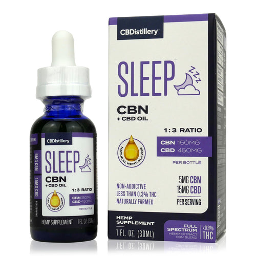 CBDistillery - CBN+CBD Full Spectrum Oil Sleep Tincture - 150mg CBN plus 450mg CBD