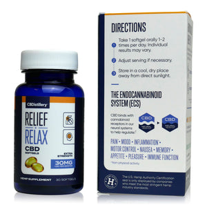 CBDistillery Full Spectrum CBD Softgels (900mg - 30mg per Capsule) - Directions
