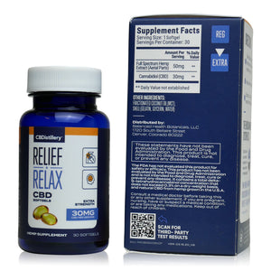 CBDistillery Full Spectrum CBD Softgels (900mg - 30mg per Capsule) - Supplement Facts