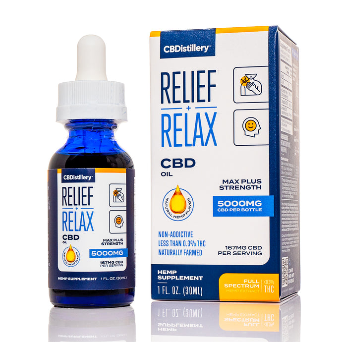 CBDistillery Relief + Relax Max Plus Full Spectrum CBD Oil (5000mg - 167mg/ml)