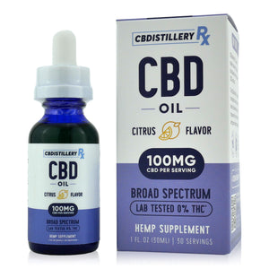CBDistilleryRX Broad Spectrum CBD Oil - Citrus Flavor - 3000mg - 100mg/ml