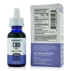 CBDistilleryRX Broad Spectrum CBD Oil - Citrus Flavor - 3000mg - 100mg/ml - Supplement Facts