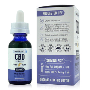 CBDistilleryRX Broad Spectrum CBD Oil - Citrus Flavor - 3000mg - 100mg/ml - How to Use
