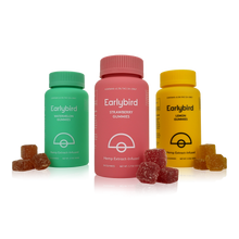 Load image into Gallery viewer, Earlybird CBD - Full Spectrum CBD Gummies - 3-pack - Strawberry, Watermelon, Lemon