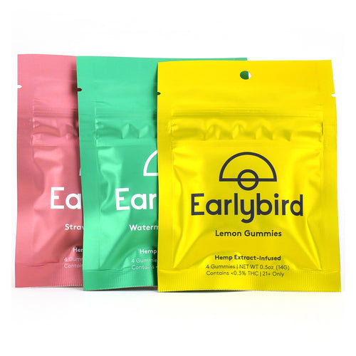 Earlybird CBD - Full Spectrum CBD Gummies - Flavor Trio - 4 Pack - 3 Pouches