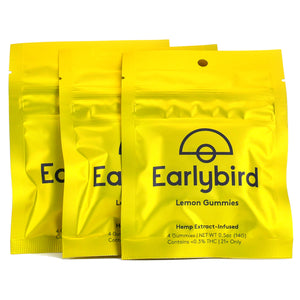 Earlybird CBD - Full Spectrum CBD Gummies - Lemon - 4 Pack - 3 Pouches
