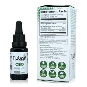 Nuleaf Full Spectrum CBD Oil (900mg, 60mg/ml) - Supplement Facts