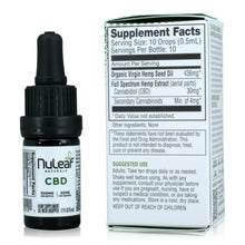 Load image into Gallery viewer, Nuleaf Naturals Full Spectrum CBD Oil (300mg, 5ml) - Supplement Facts