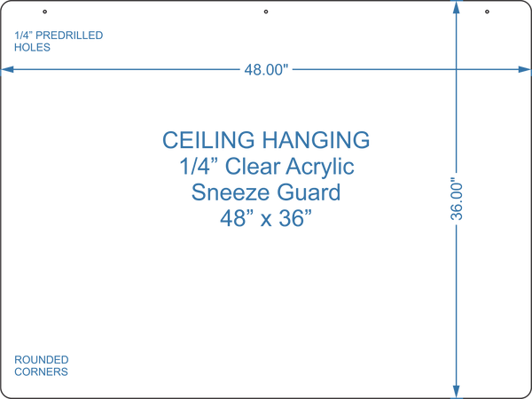 "Hanging Sneeze Guard 48"" x 36"""