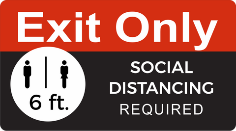 "Exit Only Social Distancing Decal 18"" x 10"""