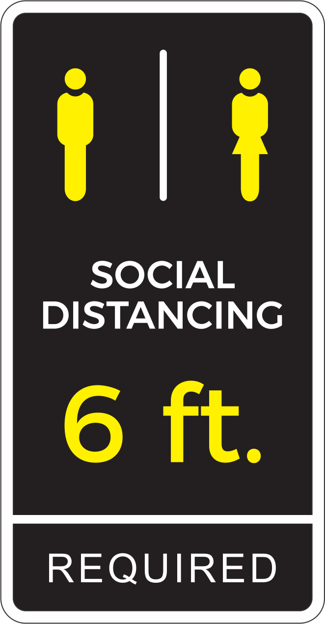 "Social Distancing Required Decal 13"" x 25"""