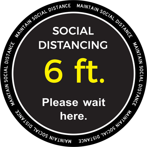 "Please Wait Here Social Distancing Decal 18"" x 18"""