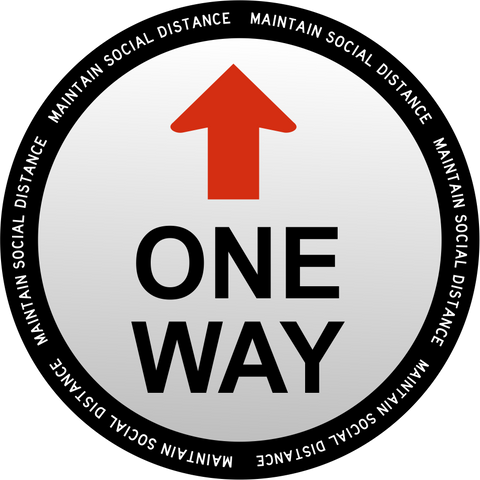 "One Way Social Distancing Decal 18"" x  18"""