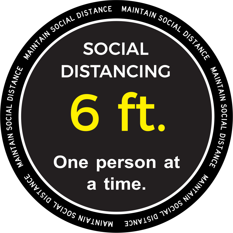"One Person at a time Social Distancing Decal 18"" x 18"""