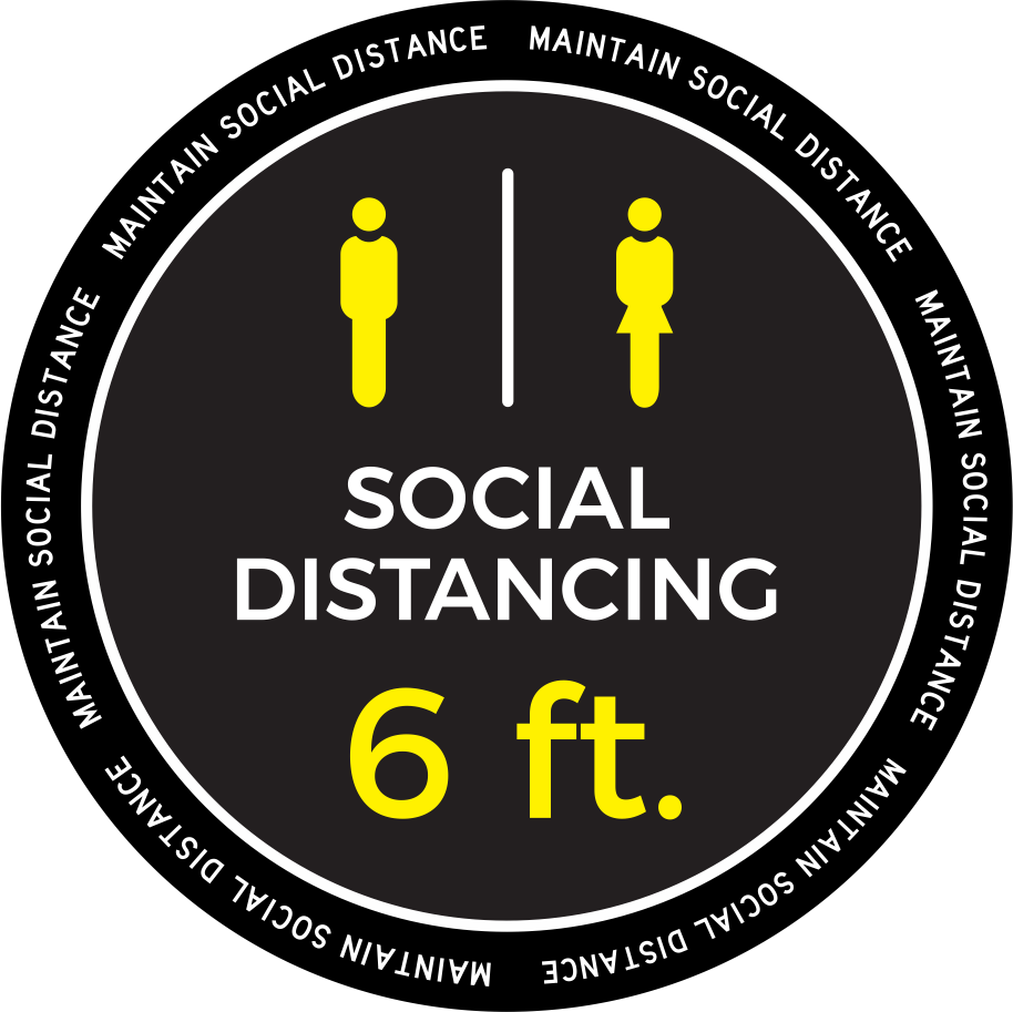 "6 Ft Social Distance Decal 18"" x 18"""