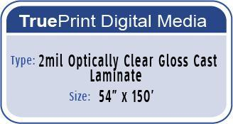 "TruePrint 2mil Optically Clear Gloss Cast lamiante 54""x150' Poly Liner"