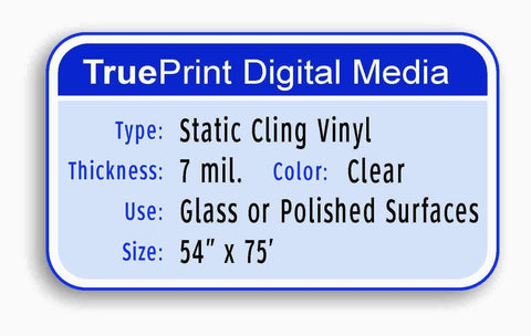 "TruePrint 7mil Clear Static Cling Vinyl 54""x75'"