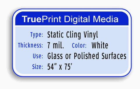 "7mil White Static Cling Vinyl 54""x75'"
