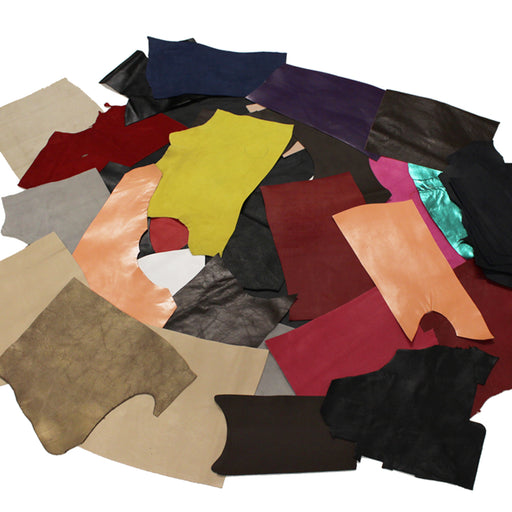 1 KG PACKAGE. OF FINE LEATHER RETAL IN VARIOUS COLORS
