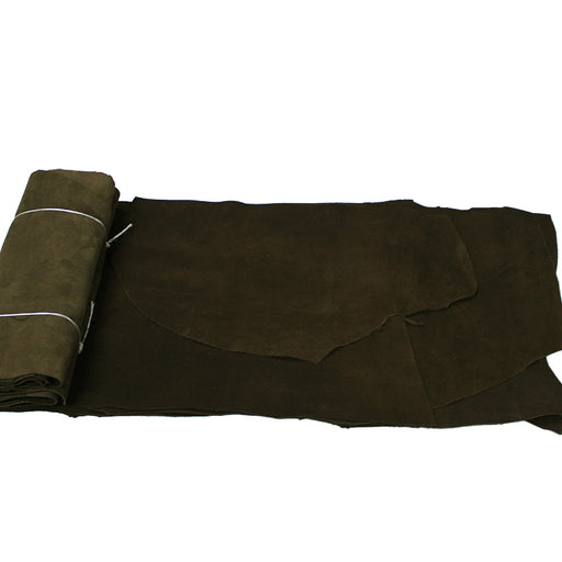 PACKAGE OF 1 KG. DARK BROWN COW SUEDE SCRAPS