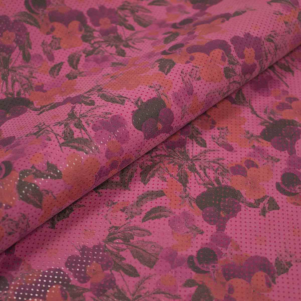PIECE OF FLORAL FANTASY LEATHER FUCHSIA BACKGROUND