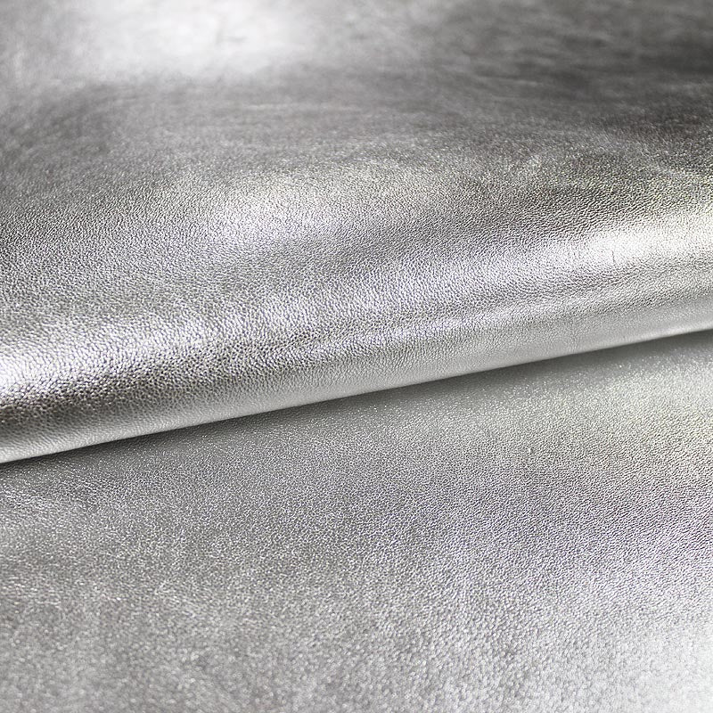 SILVER LAMINATED RUSTIC GOAT LEATHER