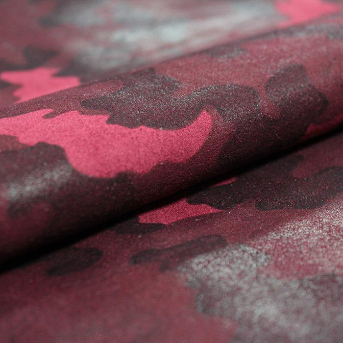 BURGUNDY CAMOUFLAGE FANTASY SUEDE LEATHER