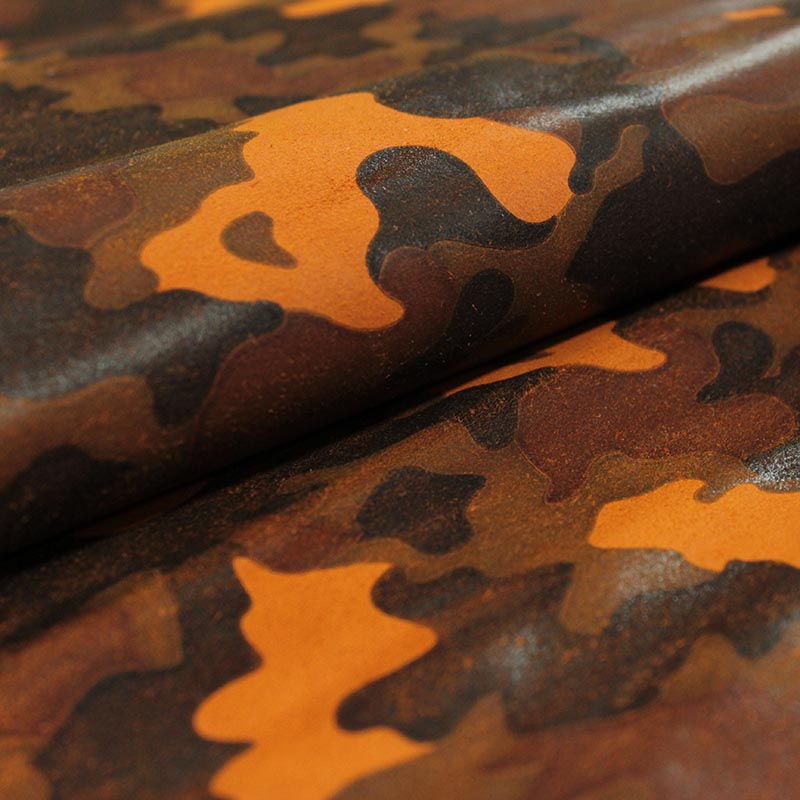 ORANGE CAMOUFLAGE FANTASY SUEDE LEATHER