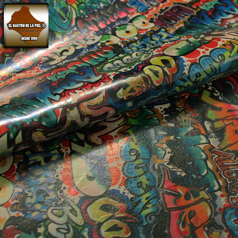 FANTASY GRAFFITTI COW LEATHER COLORS CHOCOLATE BACKGROUND REF. FA-360-20