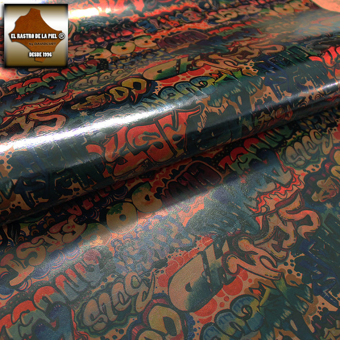 GRAFFITTI FANTASY COW LEATHER COLORS BROWN BACKGROUND REF. FA-361-9