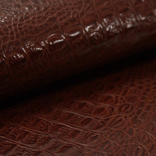 COW LEATHER EMBOSSED BROWN CROCODILE
