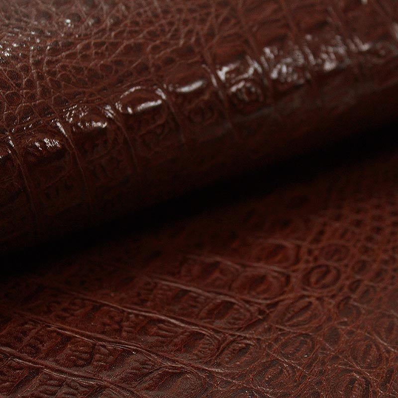 BROWN CROC EMBOSSED COW LEATHER