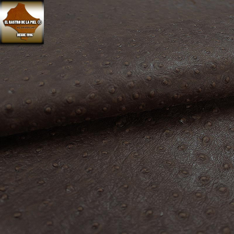 BROWN AGED OSTRICH ENGRAVED LEATHER REF. CO-605-16
