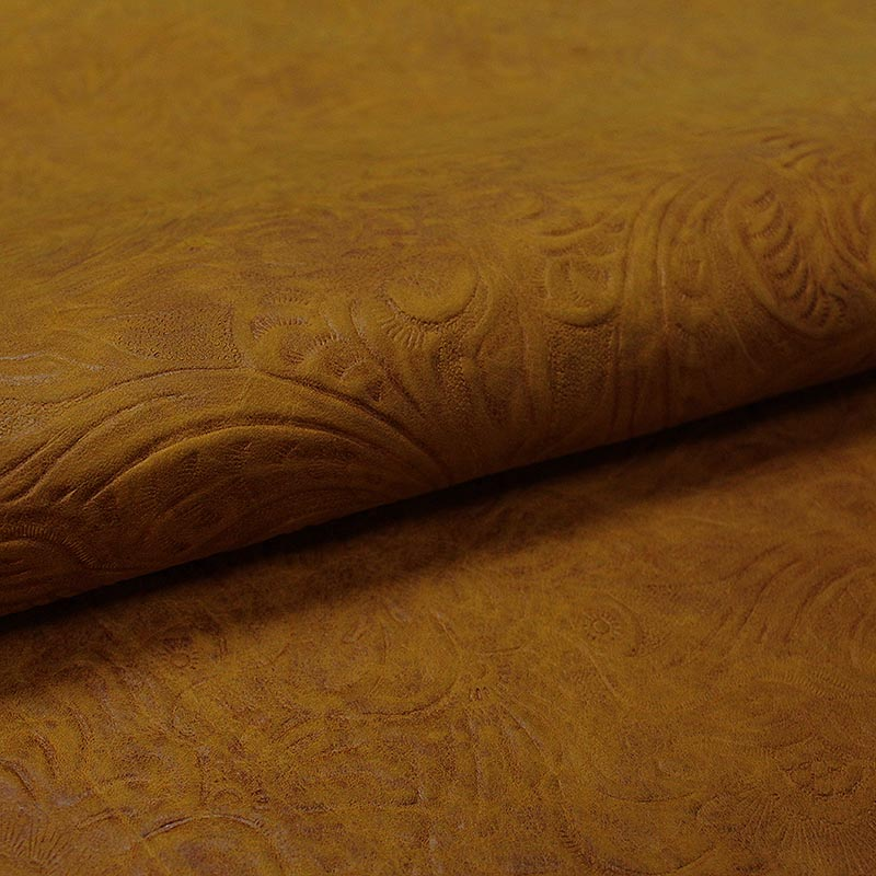 BOVINE LEATHER ENGRAVED SPANISH MUSTARD AGED