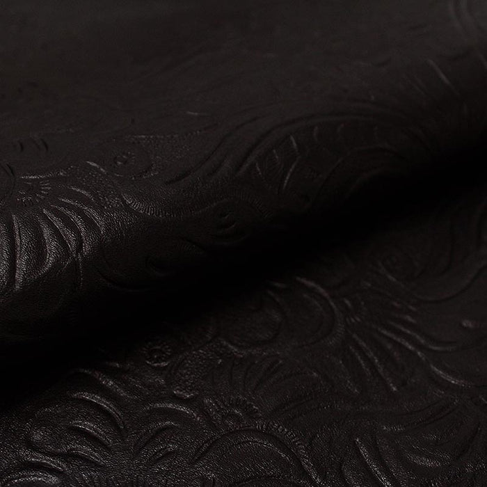 AGED BLACK CASTILIAN ENGRAVED COW LEATHER