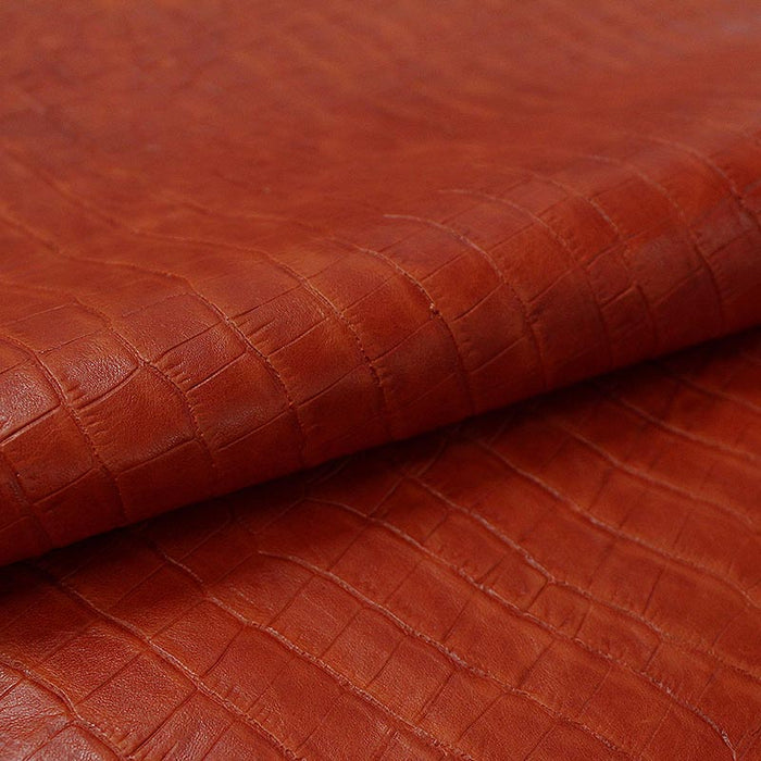 AGED COCONUT ORANGE ENGRAVED BOX LEATHER