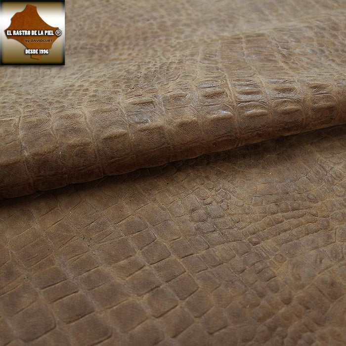 BOVINE LEATHER ENGRAVED CROCODILE BROWN AGED REF. CO-577-16