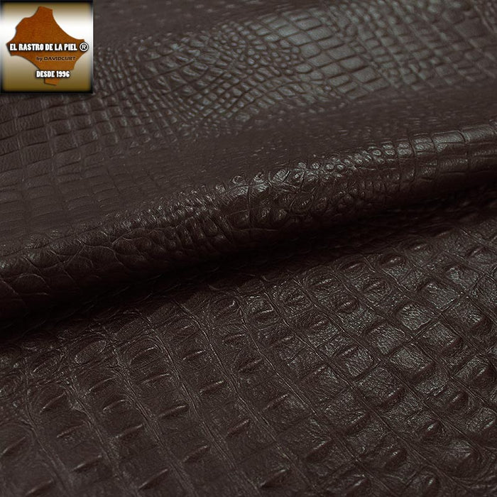 BOVINE LEATHER ENGRAVED CROCODILE BROWN AGED REF. CO-586-1819