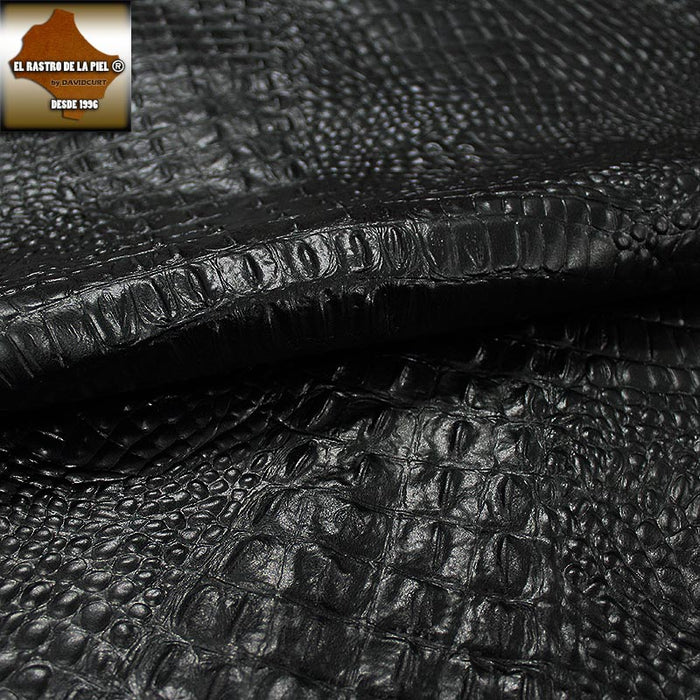BLACK CROC EMBOSSED COW LEATHER REF. CO-524-2122