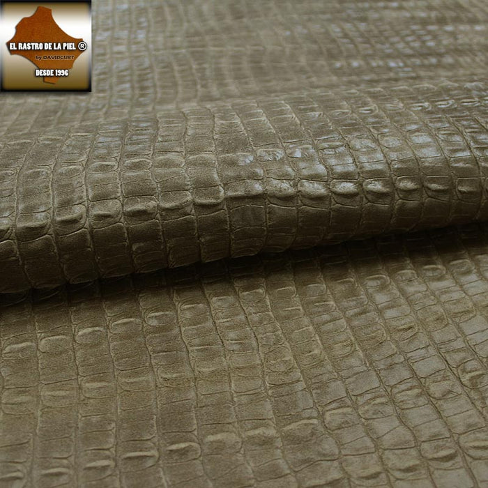 AGED TAUPE CROC EMBOSSED SUEDE LEATHER REF. CO-430-2021