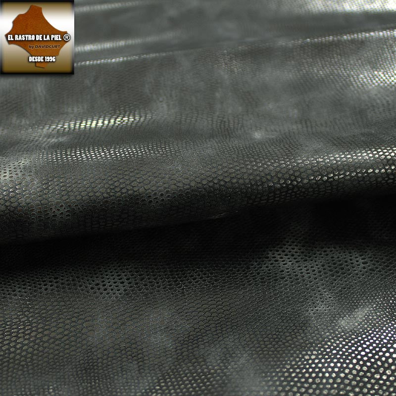 GRAY AGED LIZARD ENGRAVED COW LEATHER REF. CO-392-20