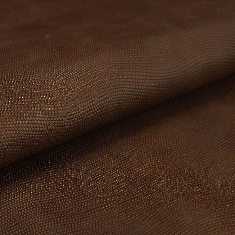 COW LEATHER ENGRAVED BROWN LIZARD
