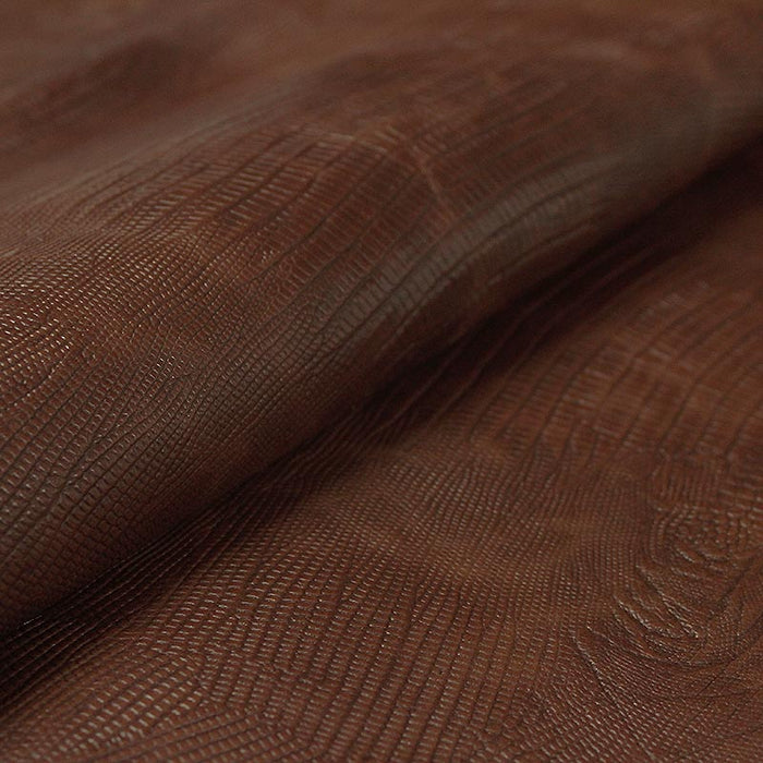 GOAT LEATHER ENGRAVED TEJUS BROWN AGED