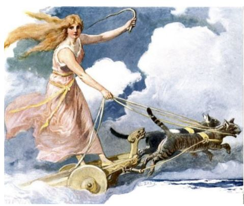 Freya and Gaupe riding into battle and subsequent victory - Motif for Norwegian Jewellery