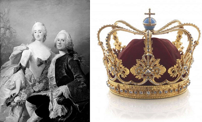 Friderich Frabricius with his wife and Queen Sophie Magdalene's crown