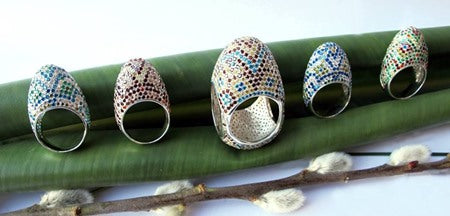 Pysanka Created Easter Egg Rings by Vera Bublyk - Norwegian Jewelry Designer in Oslo, Norway
