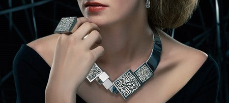 QR Code Jewelry by Designer Vera Bublyk in Oslo, Norway