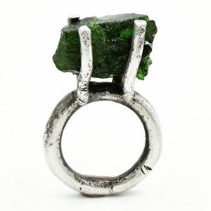 Raw Emerald set in Blackened Sterling Silver ring by Jill Herlands.