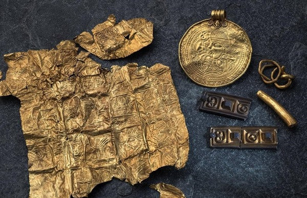 The Gold Treasure at Tornes, discovered by Paul Norli, using a metal detector. - Norwegian Jewelry Blog